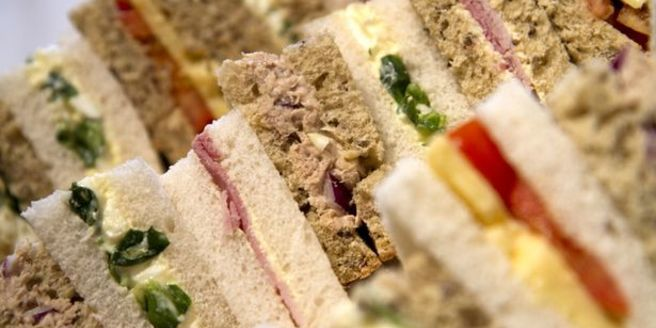 Buffet tray of sandwiches